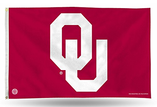 Rico Industries NCAA Oklahoma Sooners 3-Foot by 5-Foot Single Sided Banner Flag with Grommets ()
