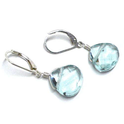 Lab Grown Aqua Quartz 12x12 Briolette Lever Back Earrings Sterling Silver