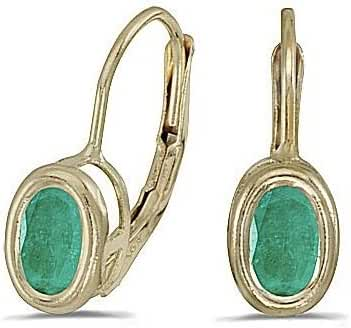 14kt Yellow Gold Oval Emerald Earrings