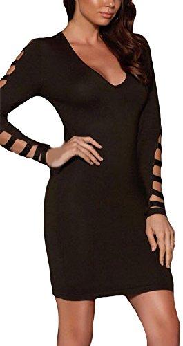 La Vogue Robe Femme Moulant Trapèze Noir Uni Col V Épaule Dénudé Manche Longue