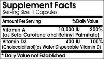 Vitamin A & D3 (Emulsified Dry) 10000IU/400IU // 90 Capsules // Pure // by PureControl Supplements
