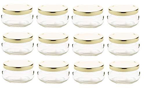 - Nakpunar 12 pcs 3.3 oz Glass Tureen Jars with Gold Lids -100ml