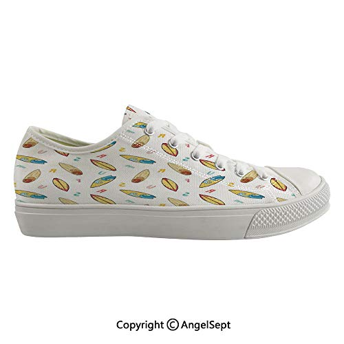 Durable Anti-Slip Sole Washable Canvas Shoes 15.35inch Hand Drawn Sketch Style Longboard with Colorful Letters Hipster Nautical Holiday Decorative,Multicolor Flexible and Soft Nice Gift