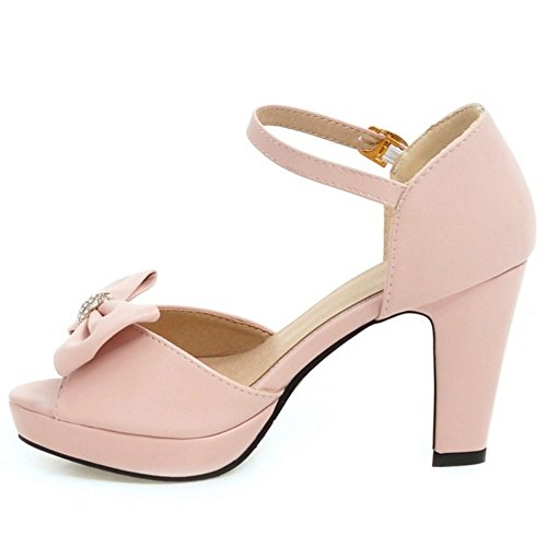 COOLCEPT Mujer Western Tacon Ancho Alto Peep Toe Ankle Strap Sandalias With Bowknot Rosado