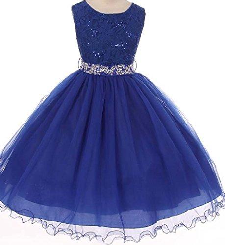 Big Girls' Lace Sequin Top Rhinestone Belt Flowers Girls Dresses Royal 18 (J36K70) ()