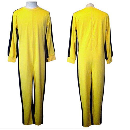 G-LIKE Yellow Martial Arts Jumpsuit - Halloween Fighting Movie Film Costume Outfit Romper Tracksuit Suit Sportswear For Men and Women - Yellow   (L, Yellow)