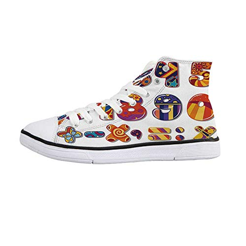 (Mathematics Classroom Decor Stylish High Top Canvas Shoes,Cartoon Colorful School Numbers Floral Vibrant Design Digits Decorative for Men & Boys,US 11)