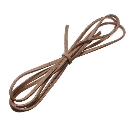 - Water & Wood 3.3 Feet Faux Suede Cord Craft Lace Leather Flat Cord DIY Rope Strings Bracelet Camel