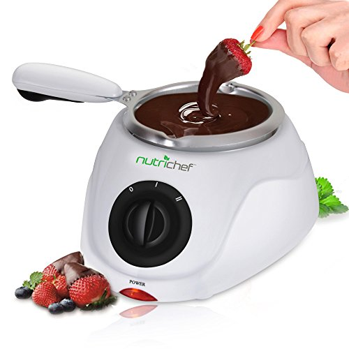 (Chocolate Melting Warming Fondue Set - Electric Choco Melt / Warmer Machine Set with Keep Warm Dipping function and Removable Pot - Melts Chocolate, Candy, Butter, Cheese, Caramel - NutriChef PKFNMK14)