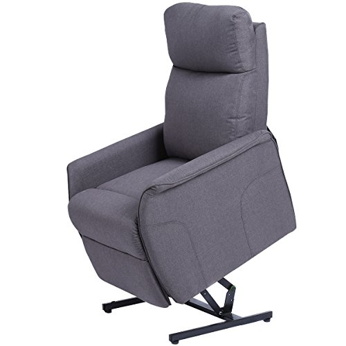 Giantex Electric Power Lift Chair Recliner Sofa Chair, With Fabric Padded Seat ,W/Remote (Gray)