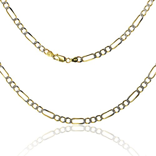 14K Gold Two Tone 3.20MM 10'' Figaro 080 Bracelet by Decadence