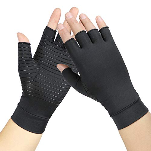 Arthritis Gloves Copper- Compression Gloves -Gloves for Arthritis Hands Pain,Carpal Tunnel,Computer Typing and Daily Support Hands and Joints (1 Pair) L