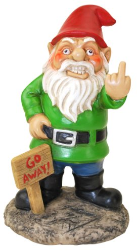 BigMouth Inc Go Away Garden Gnome, Funny Lawn Gnome Statue, Naughty Gnome Garden Decoration, 9 Inches Tall