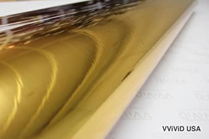 V8-GoldCHR-1 VViViD Gold Mirror Chrome Winyl Car Wrap Self Adhesive Air Release Bubble-Free Decal Film 1ft x 5ft