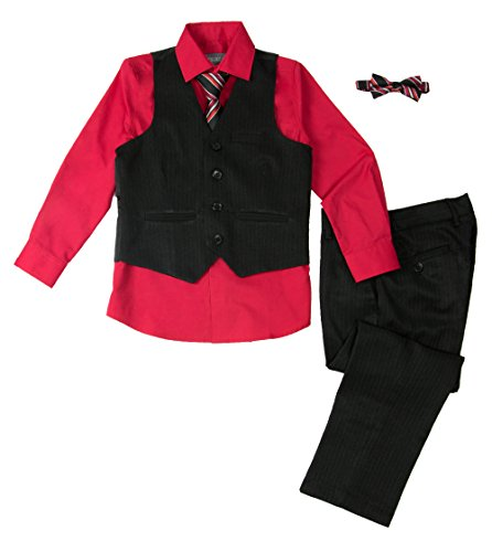 Spring Notion Baby Boys' 5 Piece Pinstripe Vest Set Lollipop ()