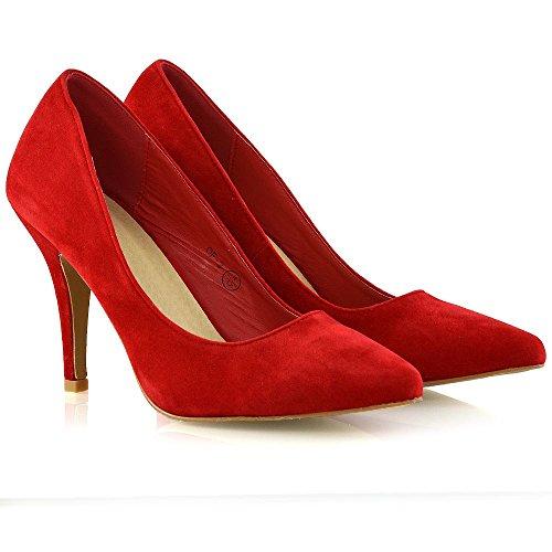 Finto su Scamosciato Ufficio Scarpa Scivolare Partito Rosso Scarpette Stiletto Tacco GLAM Scarpa Donna ESSEX xqXS4pw7S