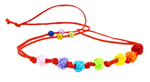 Handmade Rainbow Knot Red String Kabbalah Bracelet, Good for Wealth and Love
