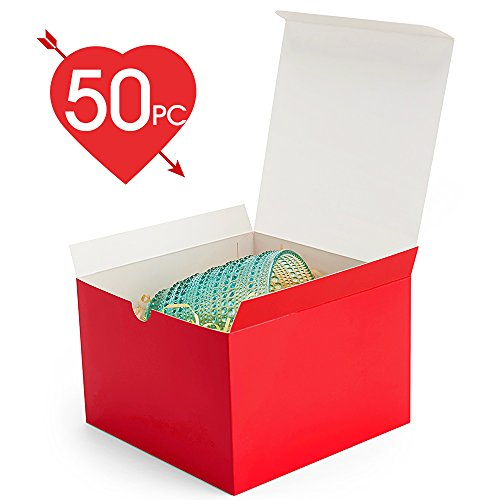 MESHA Red Boxes 50 Pack 6x 6 x 4 Inches, Paper Gift Boxes with Lids for Gifts, Crafting, Cupcake (Cute Cupcake Boxes)