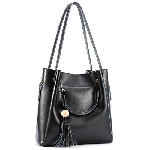Kattee Women's Genuine Leather Hobo Tote Shoulder Bag with Tassel (Black)