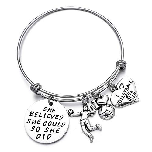 Girls Volleyball Charms Expandable Wire Bangle Bracelets Perfect Volleyball Gifts for Players]()