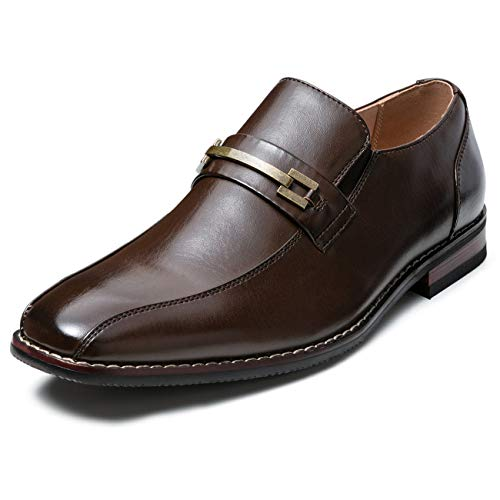 ZRIANG Men's Dress Loafers Formal Leather Lined Slip-on Shoes (9 M US, Brown-18)