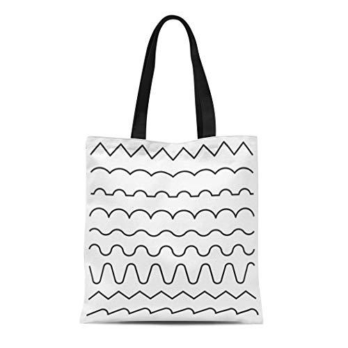 Semtomn Canvas Tote Bag Shoulder Bags Curvy of Lines Wavy Zigzag Strokes and Thickness Graphic Women's Handle Shoulder Tote Shopper Handbag