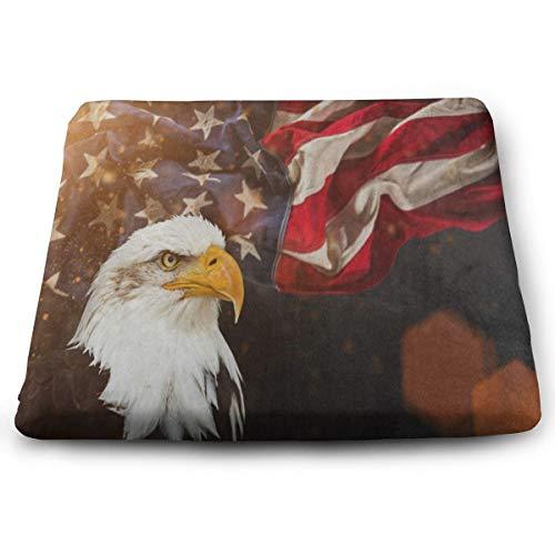 Ladninag Seat Cushion North American Bald Eagle Flag Chair Cushion Designer Offices Butt Chair Pads for ()