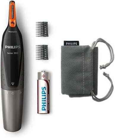 Philips NT3160/10 - Recortador de vello, nariz y orejas, resistente al agua, color negro y plateado, battery-powered: Amazon.es: Salud y cuidado personal