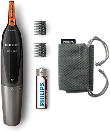 Philips NT3160/10 - Recortador de vello, nariz y orejas, resistente al agua, color negro y plateado, battery-powered ...