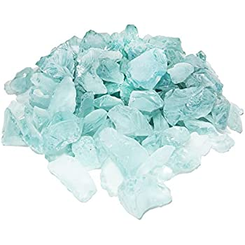 CYS EXCEL Pack of 4 lbs, Approx 8 Cups, Quarter Size, Vase Filler Sea Glass for Aquarium, Crafts, Home Decor, Non-Toxic Lead Free- Frosted Light Blue