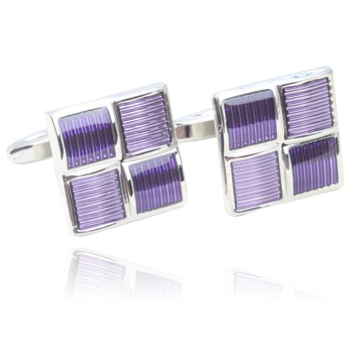 Digabi Square Purple Glazing Platinum Plated Cufflinks with Box