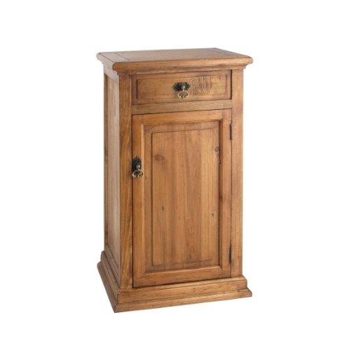 Doors Rustic Solid Wood - PL Home Wooden Stand with Swing Open Door and Top Drawer