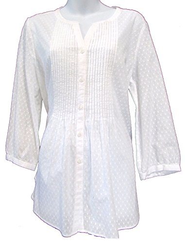 Talbots Dotted Cotton Button Down Tunic Blouse White Size Large
