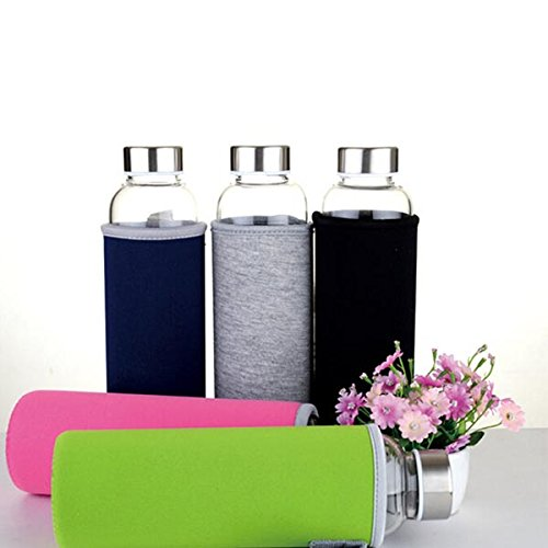BPA Glass Outdoor Sport Water Bottle With Tea Filter Protective Bag 550ml (Random: Color)