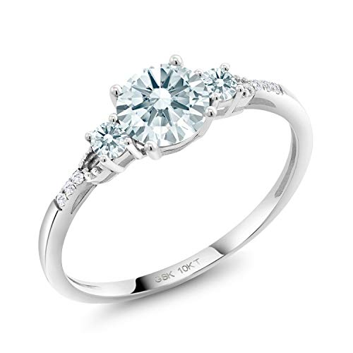 10K White Gold Solitaire w/Accent Stones Lab Grown Diamond Engagement Ring 5mm Set with White Zirconia from Swarovski (Size 9)