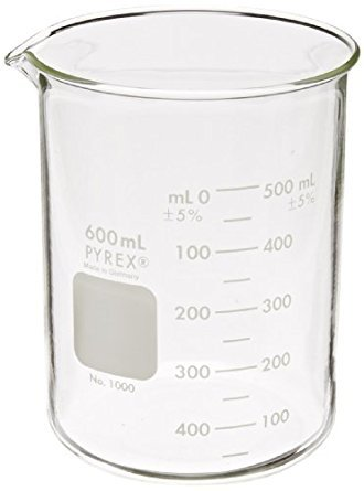 PYREX 600 mL Low Form Griffin Beaker, Double Scale, Graduated (Shelf Pack of 3)