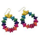 NOVICA Rainbow Wood Beaded Dangle Earrings with Brass Hooks, 'Joyous Celebration'