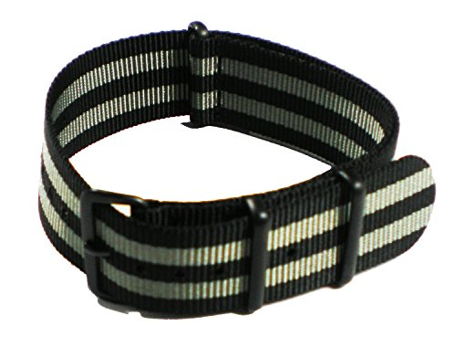 SWIGEN USA Black & Grey James Bond Military Army Mens Nylon Canvas Fabric Wrist Watch Band Strap 20mm