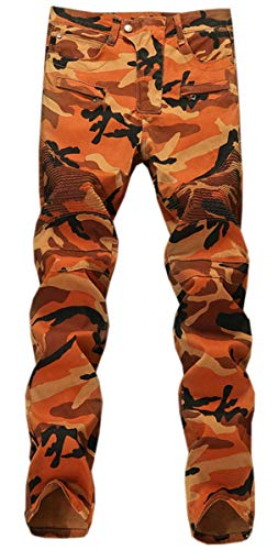 QZH.DUAO Men's Camouflage Biker Jeans, Camo Straight Slim Fit Denim Pants for Men, Orange Camouflage, US 36 = Tag 38