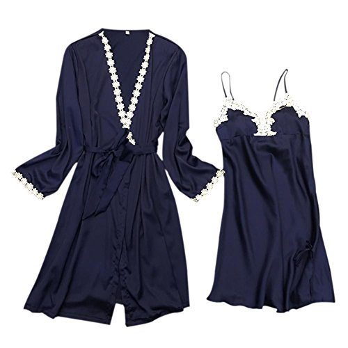 Robe 2Pcs Comfortable Nightdress Set Women's Set Blue Yalatan Bathrobe O4EPq4w