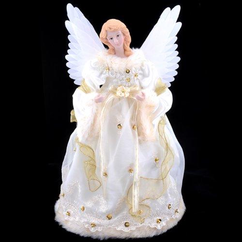 Kurt Adler 14-Inch Ivory and Gold Fiber Optic Animated Angel Treetop (UL2184)