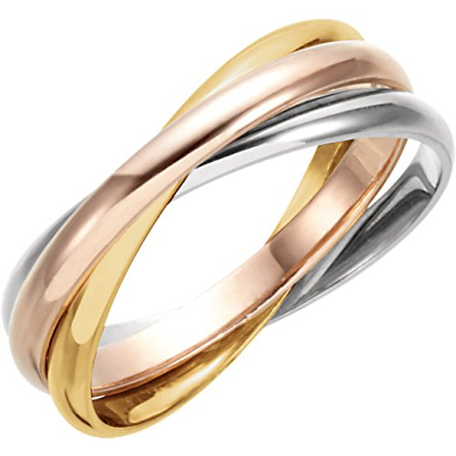 ICE CARATS 14K Yellow/White/Rose Gold Tri Color 3-Band Rolling Wedding Band Ring Size - Rolling White Gold Ring