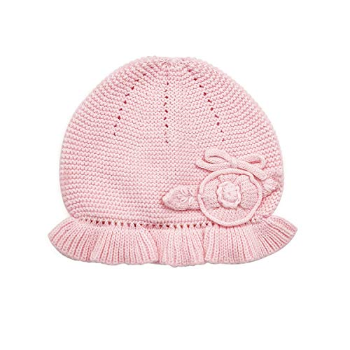 LLmoway Baby Girl Knit Hat Newborn Infant Beanies Soft Cotton Crochet Skull Cap, Pink, 1-Ply, 0-6M