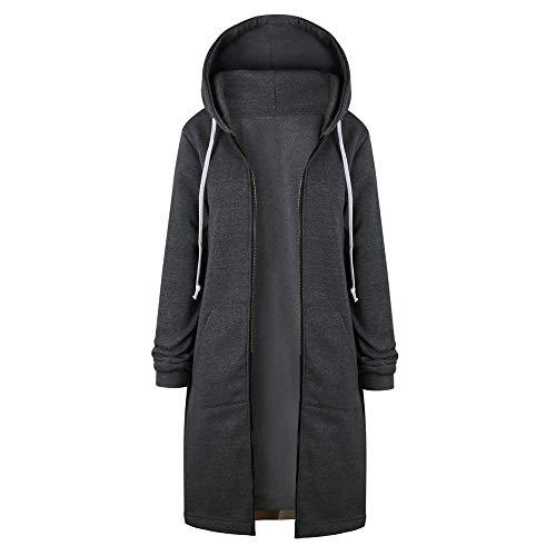 XOWRTE Women's Jacket Zipper Open Hoodies Long Coat Winter Warm Overcoat Outwear