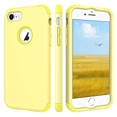 (BENTOBEN Case for iPhone 8/iPhone 7, Three Layer Heavy Duty Shockproof Hybrid Coated Full-Body Protective Rugged Bumper Girl Women Phone Cover Case for Apple iPhone 8/7 (4.7 Inch), Cute Jelly Yellow )