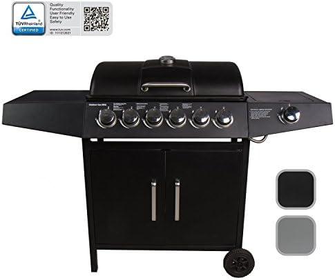 CCLIFE Barbecue à gaz (Barbecue Compact 6+1 brûleurs), Couleur:Noir, Size:6+1 Brûleurs