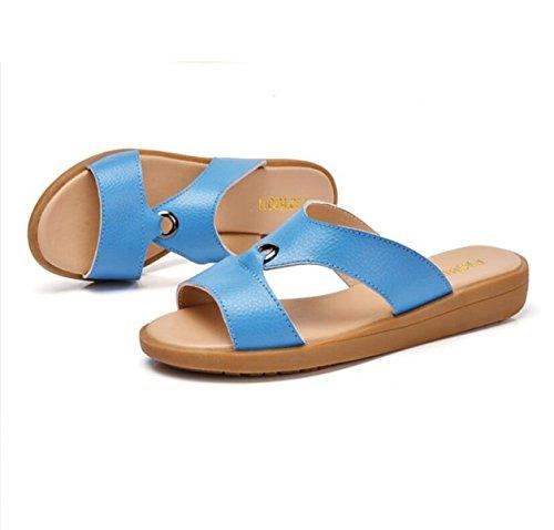 Una Blue Zapatillas Cuero Fresco Casuales Plana La Con De Playa De Mujer Sandalias Palabra La De GRRONG UHqa1PU