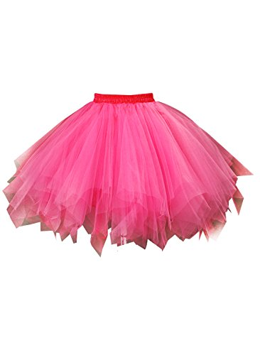 Emondora Women's Tutu Tulle Petticoat Ballet Bubble Skirts Short Prom Dress Up Hot Pink Size M-XL (Masked Ball Outfit)