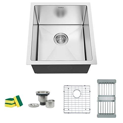 "TORVA 17-Inch Undermount 16 Gauge Stainless Steel Single Bowl Kitchen Sink, Wet Bar/Prep Sinks, Suit for 20"" Cabinet (17"" x 19"" x 9"")"