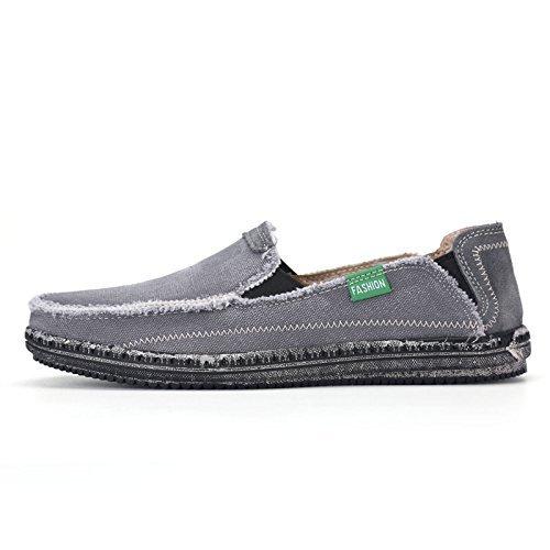 Gå Tur Menns Klassiske Lerret Komfort Uformell Kjøring Krone Slip På Loafers En-grå